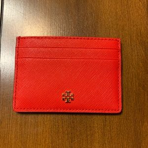 NWT Tory Burch Emerson Slim Card Case Red Wallet